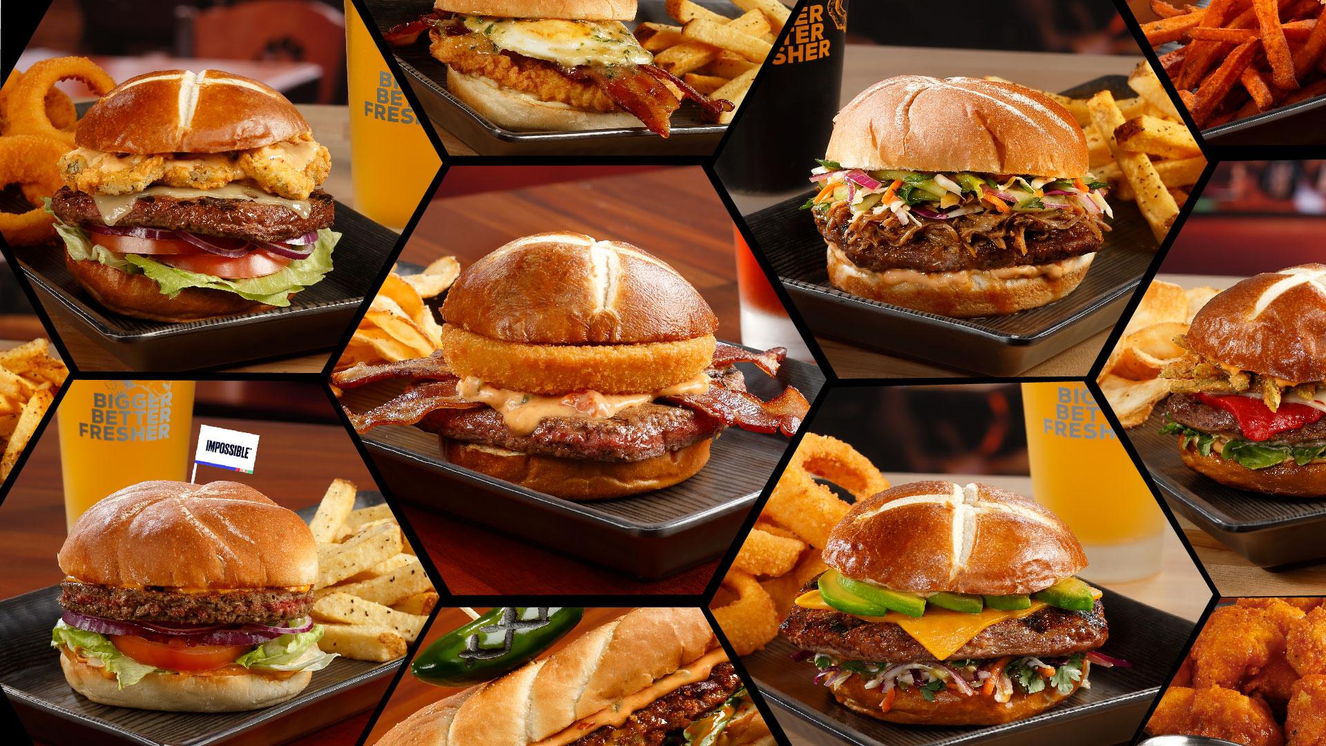burgerama mosaic of various burgers